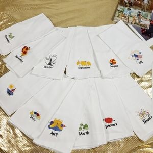 Other - 12 linens Symbols embroidered of 12 months